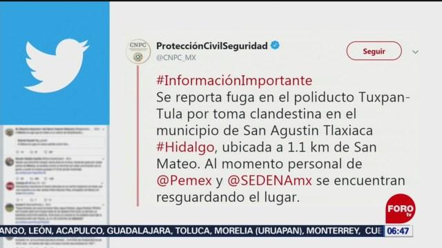 Reportan fuga en poliducto por toma clandestina en Hidalgo