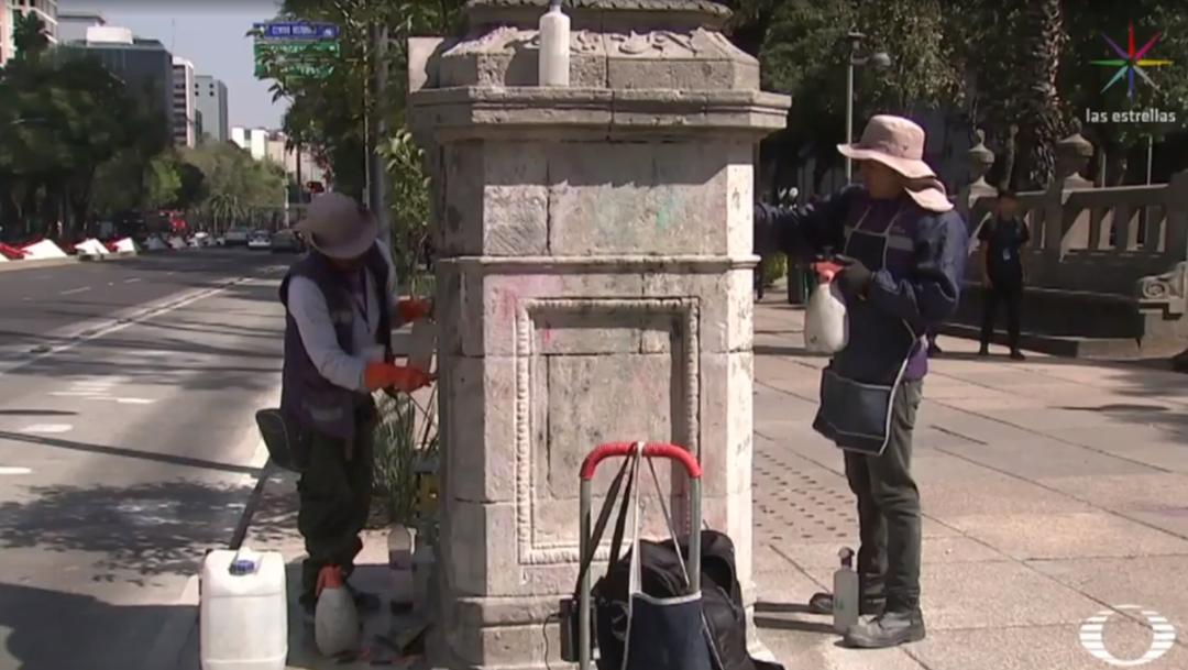 FOTO Restauran monumentos históricos sobre Paseo de la Reforma tras limpieza con fallas (Noticieros Televisa)