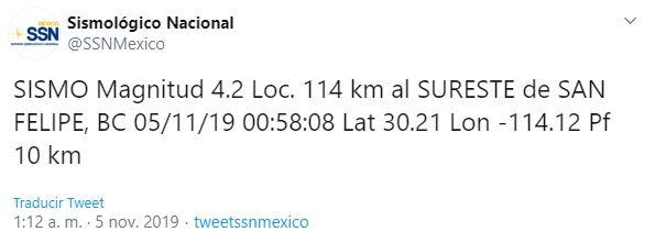 Se registra sismo de magnitud 4.2 en Baja California. (SSN)