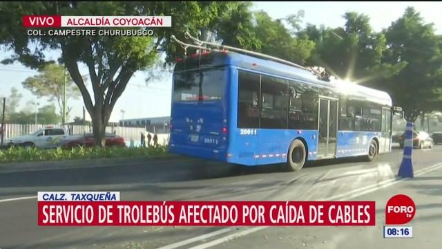 Servicio de Trolebús afectado por caída de cables en alcaldía Coyoacán