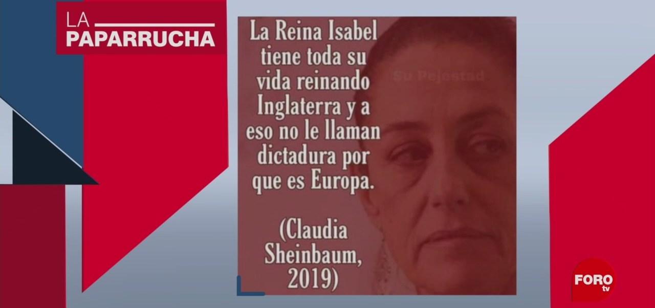 FOTO:Sheinbaum compara a Evo Morales con la reina Isabel II, la paparrucha del día, 13 noviembre 2019