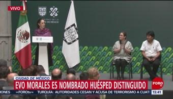 FOTO: Sheinbaum nombra Evo Morales Huésped Distinguido CDMX