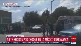FOTO: Siete personas resultan heridas tras choque en la México-Cuernavaca, 10 noviembre 2019