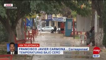 Tormenta invernal provoca temperaturas bajo cero en Chihuahua