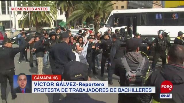 Trabajadores de Bachilleres bloquean Paseo de la Reforma, CDMX