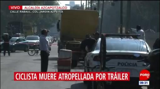 Tráiler atropella a una ciclista en la alcaldía Azcapotzalco