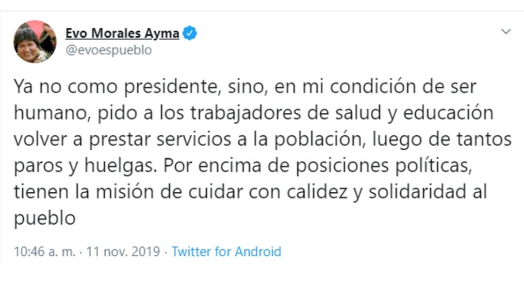Foto: Tuit del expresidente Evo Morales