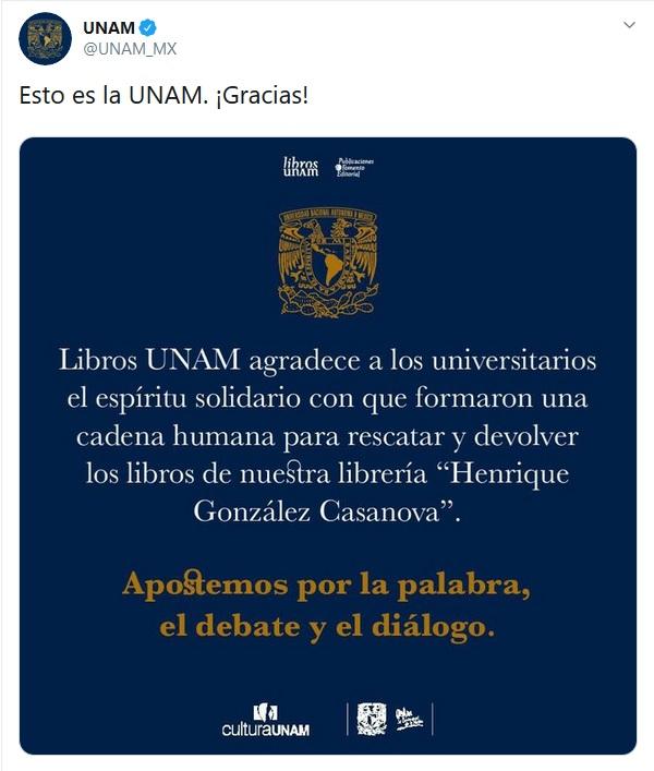 La UNAM agradece apoyo de estudiantes.