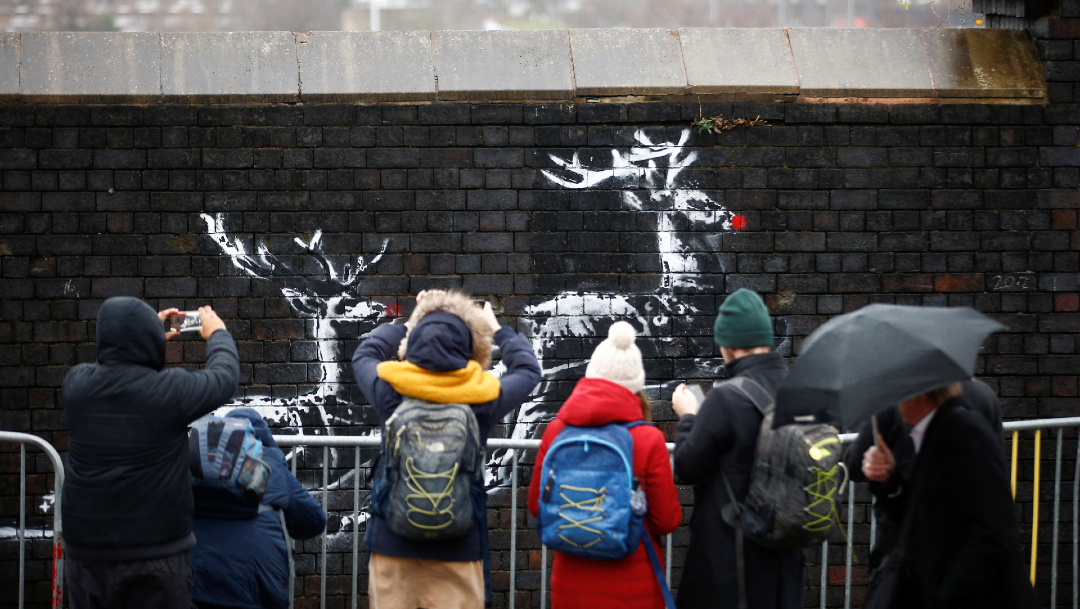 mural navidad Banksy