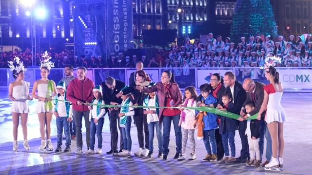 Foto: Inauguran la pista de hielo ecológica en el Zócalo de la CDMX, 14 de diciembre de 2019 (CUARTOSCURO)