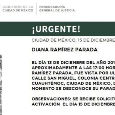 FOTO: Activan Alerta Amber para localizar a Diana Ramírez Parada, el 16 de diciembre de 2019