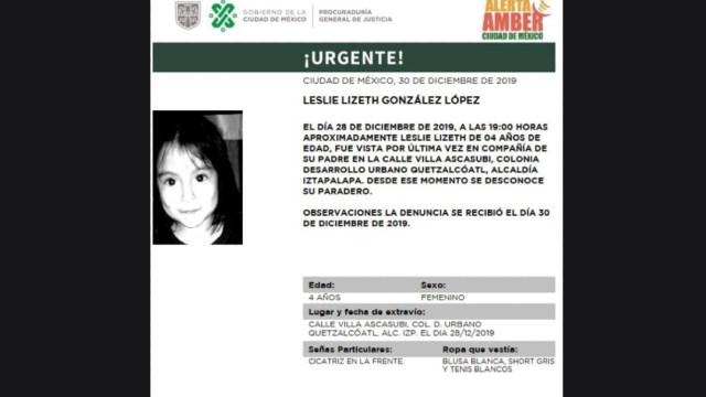 Foto: Activan Alerta Amber para localizar a Leslie Lizeth González López
