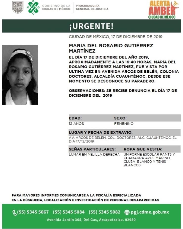 FOTO: Activan Alerta Amber para localizar a María del Rosario Gutiérrez Martínez, el 18 de diciembre de 2019