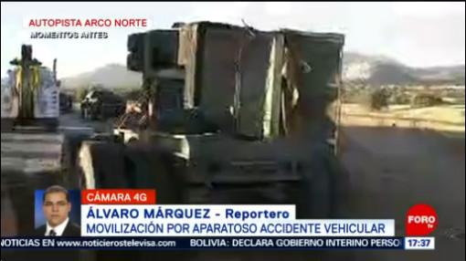 FOTO: 31 diciembre 2019, aparatoso accidente vehicular en la autopista arco norte