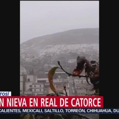 Cae nevada en Real de Catorce en San Luis Potosí