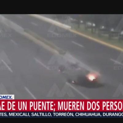 Cae vehículo de puente en Toluca; dos personas murieron