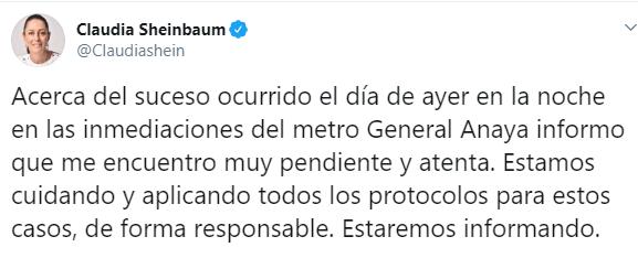 IMAGEN Claudia Sheinbaum afirma que se activaron protocolos por desaparición de Karen (Twitter)
