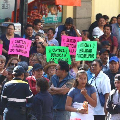 Protesta de comerciantes en CDMX.
