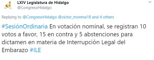 IMAGEN Congreso de Hidalgo vota contra legalización del aborto (Twitter)