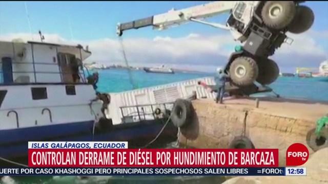 controlan derrame de diesel por hundimiento de barcaza en islas galapagos