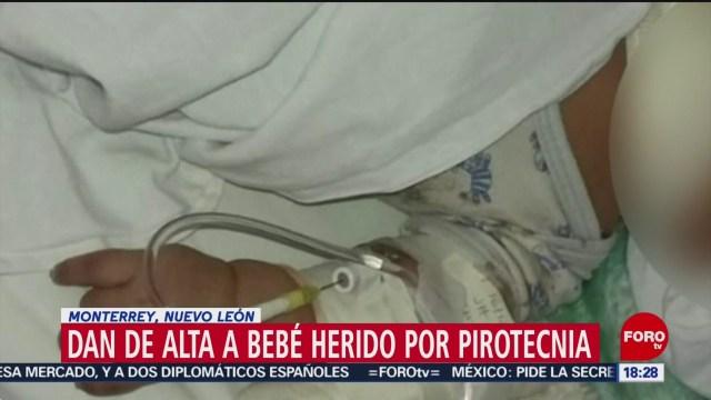 FOTO: 31 diciembre 2019, dan de alta a bebe herido por pirotecnia