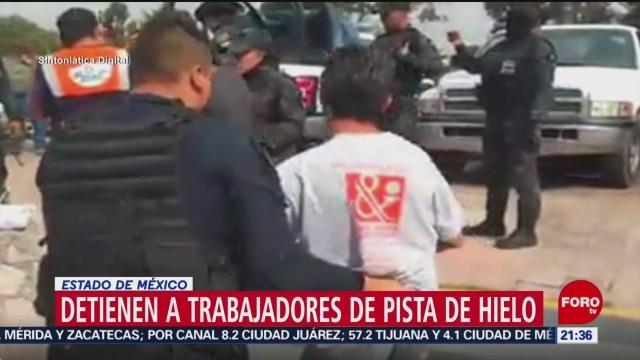 Foto: Detienen Trabajadores Instalaban Pista Hielo Cuatitlán 29 Diciembre 2019