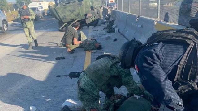 Foto: Vuelca camión con militares en Amozoc, Puebla, 14 de diciembre de 2019 (Twitter SoyMilitar)