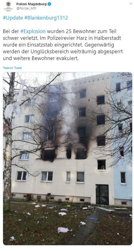 Explosión edificio residencial de Alemania deja 25 heridos