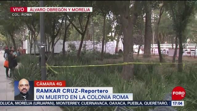 Foto: Hallan Hombre Muerto Parque Colonia Roma 26 Diciembre 2019