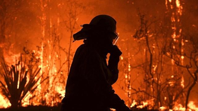 Foto: Un oficial de bomberos de Nueva Gales del Sur trabaja para extinguir un incendio al norte de Sídney, Australia, 12 diciembre 2019