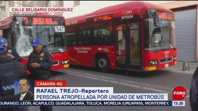 metrobus atropella a peaton en el centro historico de la ciudad de mexico