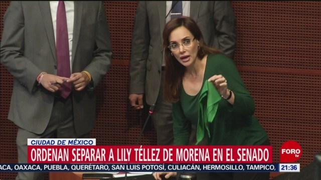 Foto: Morena Separara Lilly Téllez Bancada Senado 16 Diciembre 2019