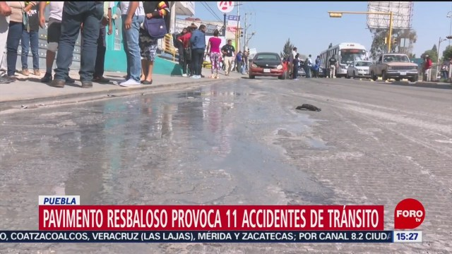 FOTO: Pavimento Resbaloso Causa 11 Accidentes Puebla
