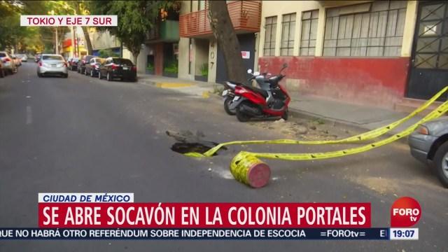 FOTO: Se abre socavón en la Colonia Portales de la Benito Juárez, 14 diciembre 2019