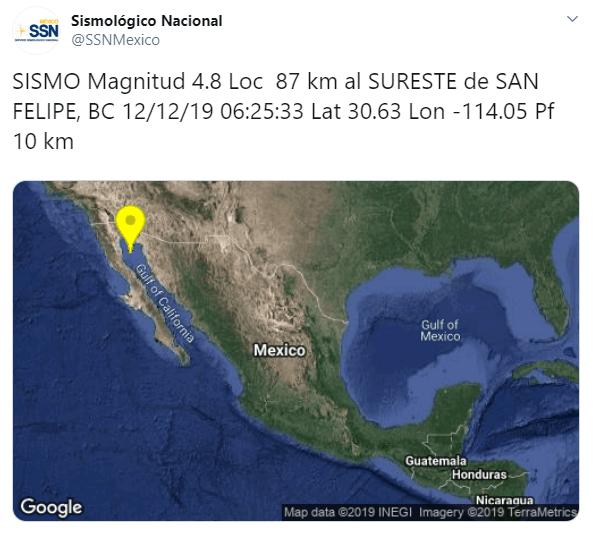 IMAGEN Se registra sismo en Baja California (SSN)