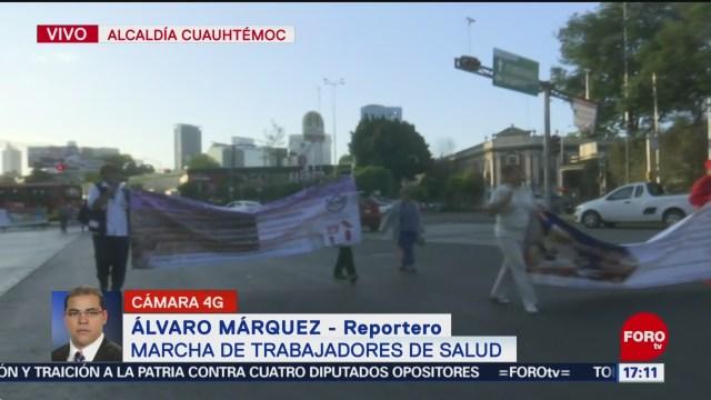 FOTO: Trabajadores Salud marchan rumbo Zócalo