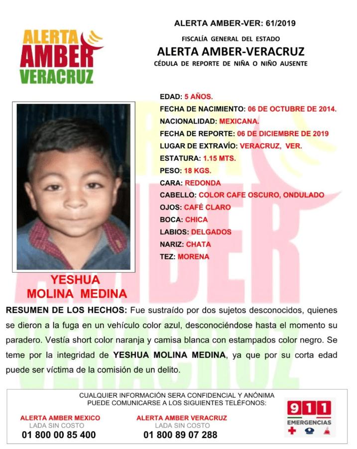 Foto: Yeshua, de 5 años, fue robado en Veracruz; activan Alerta Ámber