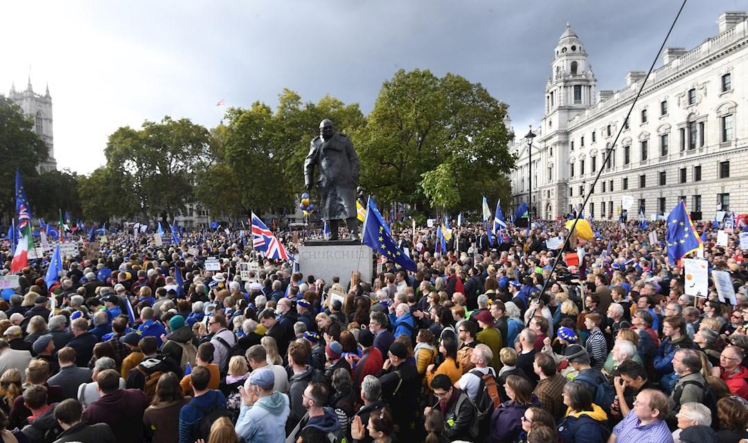 Foto: Los que están en contra del Brexit se manifestaron más temprano, 31 de enero de 2020, (EFE)