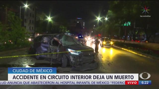 accidente en circuito interior cdmx deja un muerto