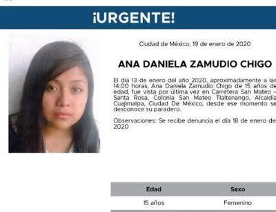 Activan Alerta Amber para localizar a Ana Daniela Zamudio Chigo