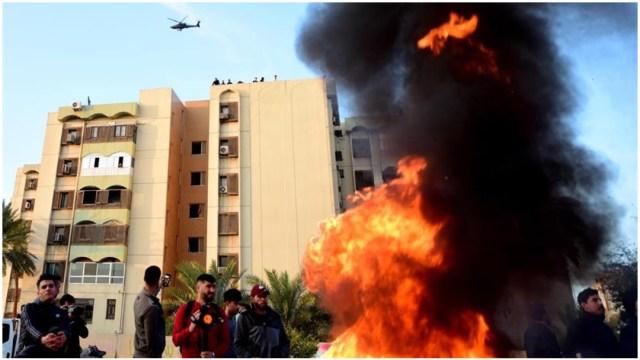 Imagen: La Embajada de EE.UU en Irak fue blanco de un nuevo ataque, 5 de enero de 2020 (EFE)