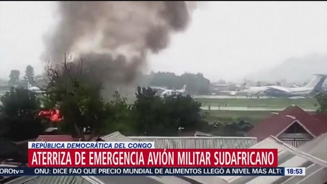 FOTO: aterriza de emergencia avion militar sudafricano