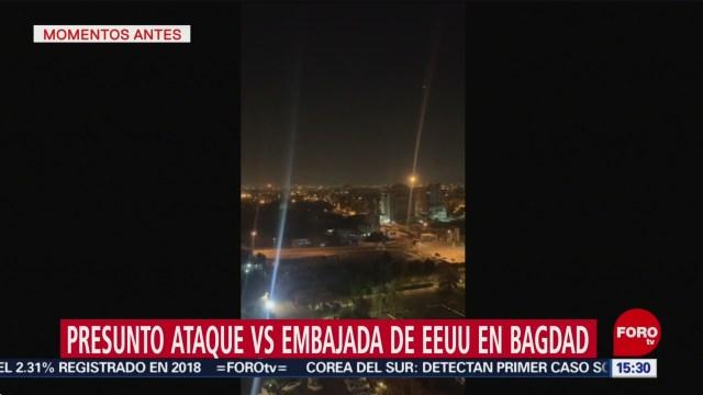 FOTO: captan momento de nuevo ataque con cohetes en zona verde de bagdad
