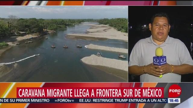 FOTO: caravana migrante llega a la frontera sur de mexico