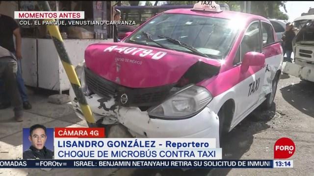 choca un microbus y taxi en la alcaldia venustiano carranza