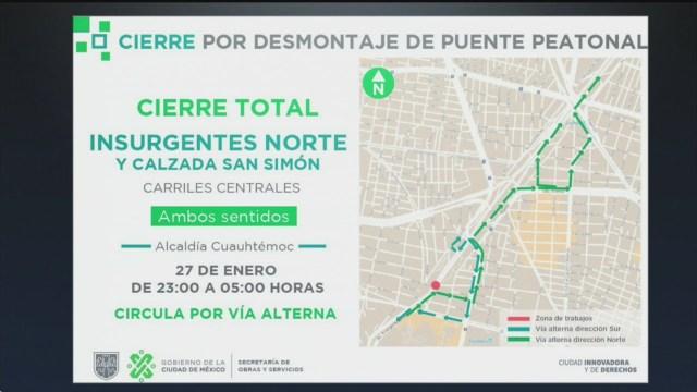 Foto: Insurgentes Norte Cierres Viales Retiro Puente Peatonal 27 Enero 2020
