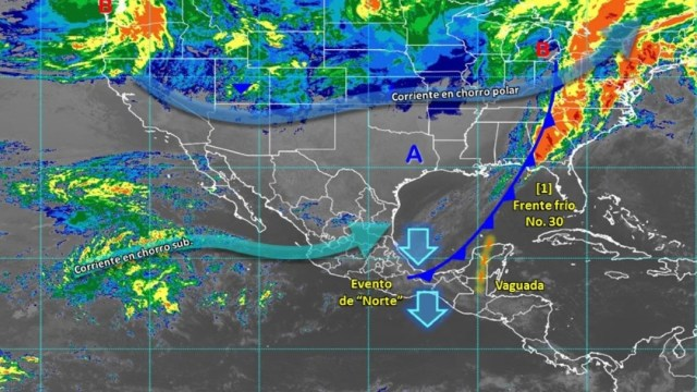 Foto: El Frente Frío Número 30 que se desplaza sobre el litoral del Golfo de México, su masa de aire frío generará descenso de temperaturas y heladas en entidades del norte, centro y oriente de México