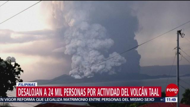 desalojan a 24 mil personas por actividad del volcan taal en filipinas
