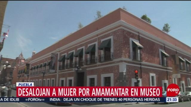 Foto: Desalojan Mujer Amamantar Hijo Museo Puebla 16 Enero 2020