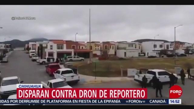 FOTO: elementos de la fiscalia de chihuahua disparan a dron de reportero